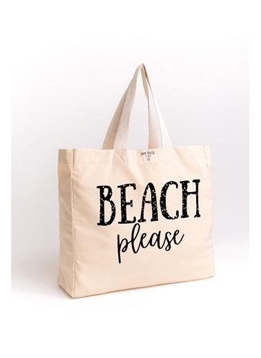 Happy Onesie Co Beach Please Baskılı Organik Yıkanmış Kanvas Çanta Krem